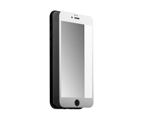 Защитное стекло для iPhone 8 5D полная проклейка, белая рамка, матовое