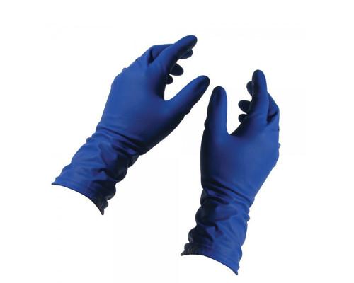 Перчатки латексные повышенной прочности размер L, синие, 2 шт (1 пара)