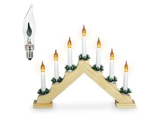 Светильник рождественская горка на деревянной основе с мерцающими лампочками