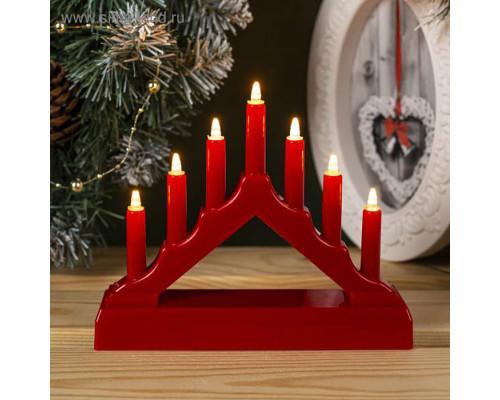 Светильник рождественская горка пластиковая малая красная