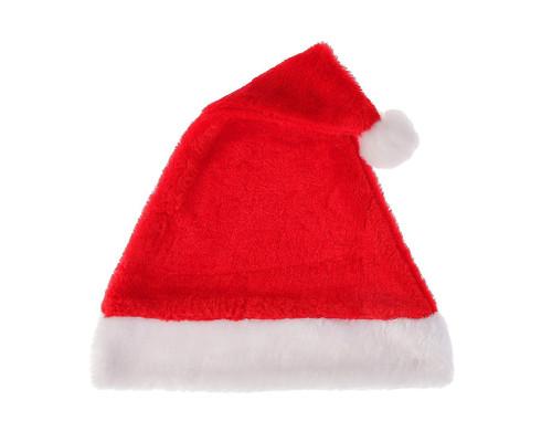 Шапка Деда Мороза красная бархатистая
