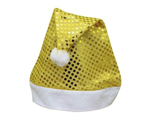 Шапка Деда Мороза желтая блестящая
