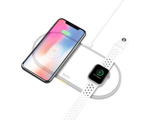 Зарядное беспроводное устройство HOCO, CW20 2 в 1 для смартфонов и Apple Watch, белое