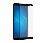 Защитное стекло для Samsung Galaxy A6 Plus (вид - 3D, черная рамка, комплектация эконом)