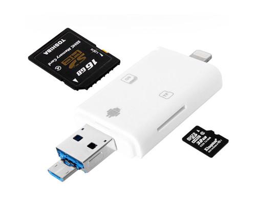 Кардридер для телефона, разъемы USB, micro USB, Lightning