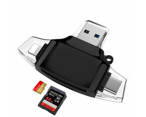 Кардридер для телефона, разъемы USB, micro USB, USB Type-C, Lightning