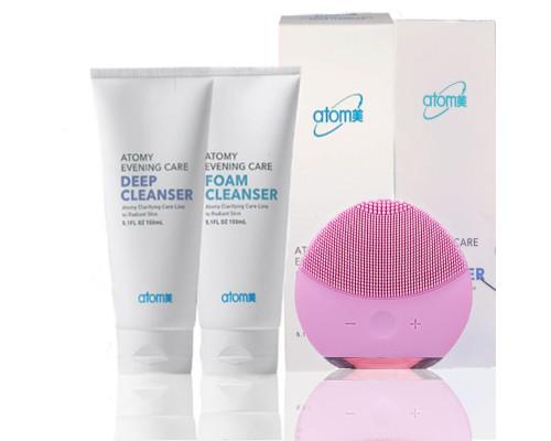 Комплект для ежедневного очищения кожи Atomy Deep Cleanser и Foam Cleanser со щеточкой для лица