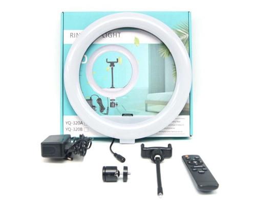 Кольцевая лампа YQ-320A диаметр 30 см с держателем для телефона и пультом, мощность 30 Вт, питание от сети 220