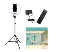 Кольцевая лампа YQ-320A диаметр 30 см на штативе с держателем для телефона и пультом, мощность 30 Вт, питание от сети 220