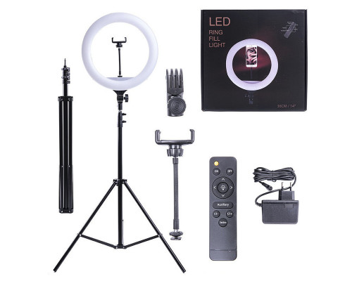 Кольцевая селфи лампа SL-36T с держателем для смартфона, со штативом и пультом ДУ, диаметром 36 см