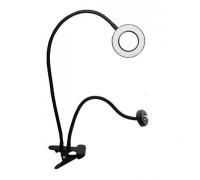 Кольцевая лампа 9 см с держателем для камеры на гибком штативе, дополнительный зажим для смартфона, черная