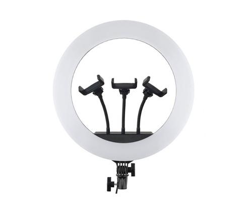 Кольцевая лампа HQ-18 селфи лампа с тремя держателями для смартфона, диаметр 45 см