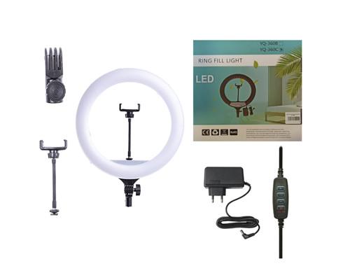 Кольцевая лампа YQ-360C диаметр 36 см с держателем для телефона, мощность 30 Вт, питание от сети 220