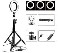 Кольцевая лампа для профессиональной съемки, селфи лампа, со штативом, диаметр лампы - 16 см