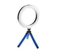 Кольцевая лампа 16 см с триподом на гибких ножках (синий)