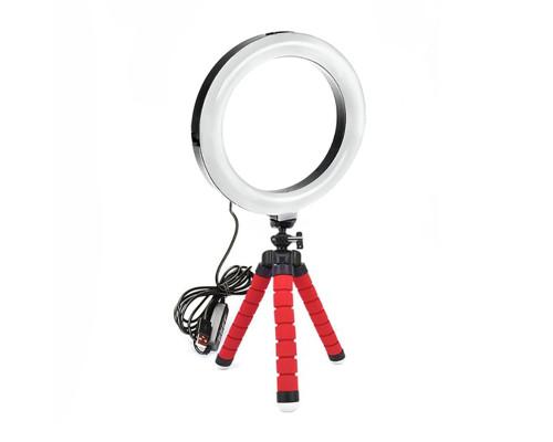 Кольцевая лампа 16 см с триподом на гибких ножках (красный)