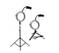 Кольцевая светодиодная лампа с держателем для телефона, штативом и треногой, диаметр лампы - 20 см
