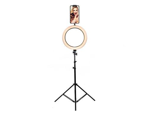 Кольцевая лампа диаметром 20 см на штативе с шарнирным держателем для телефона (зажим для телефона 5.5-8.5 см/11-18 см)