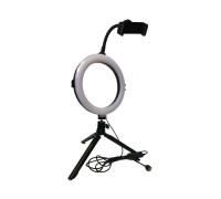 Кольцевая лампа с держателем для телефона на треноге, диаметр 20 см