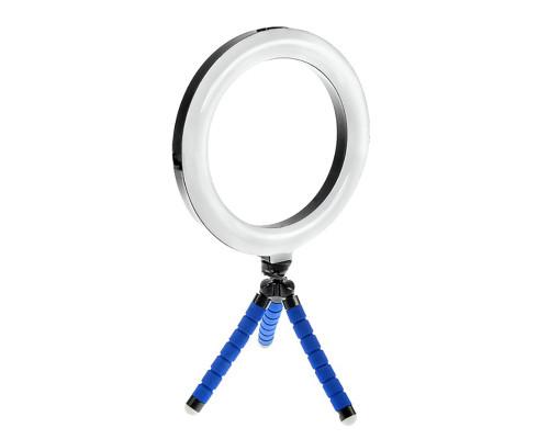 Кольцевая лампа  20 см с триподом на гибких ножках (синий)