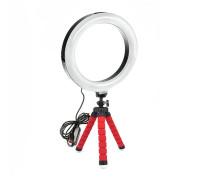 Кольцевая лампа  20 см с триподом на гибких ножках (красный)