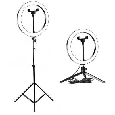Кольцевая лампа визажиста для профессиональной съемки, селфи лампа с держателем для смартфона, со штативом, диаметр лампы - 26 см