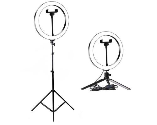 Кольцевая лампа для профессиональной съемки, селфи лампа с держателем для смартфона, с напольным штативом и настольной треногой, диаметр лампы - 26 см