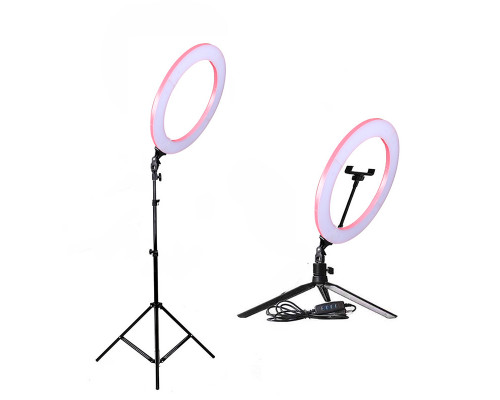Кольцевая лампа визажиста для профессиональной съемки, селфи лампа с держателем для смартфона, со штативом, диаметр лампы - 26 см, розовая