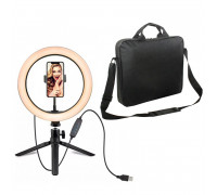Кольцевая лампа с держателем для смартфона, настольной треногой и сумкой для переноски, диаметр лампы - 26 см