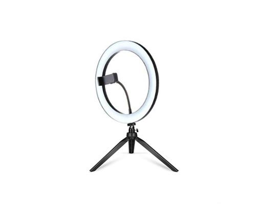 Кольцевая светодиодная лампа c держателем для телефона и настольной треногой, диаметр лампы - 30 см