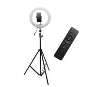 Кольцевая лампа с держателем для смартфона, со штативом и дистанционным пультом управления, диаметр лампы - 30 см