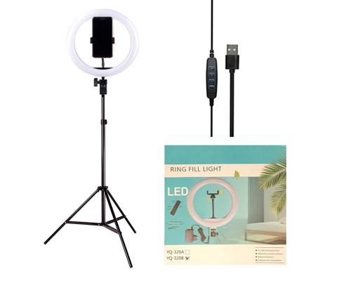 Кольцевая лампа YQ-320B диаметр 30 см на штативе с держателем для телефона, мощность 20 Вт, питание от USB