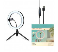 Кольцевая лампа YQ-320B диаметр 30 см на настольной треноге с держателем для телефона, мощность 20 Вт, питание от USB