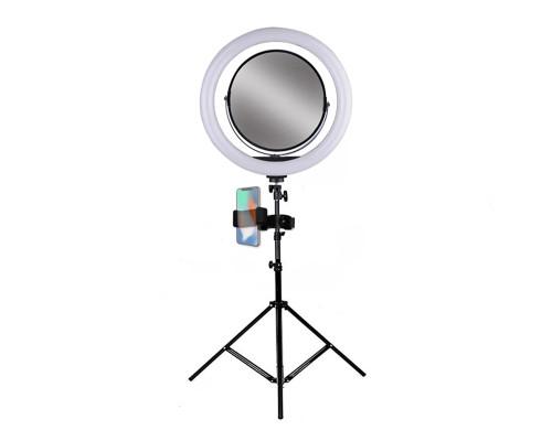 Кольцевая лампа 32 см с зеркалом, держателем для телефона и штативом