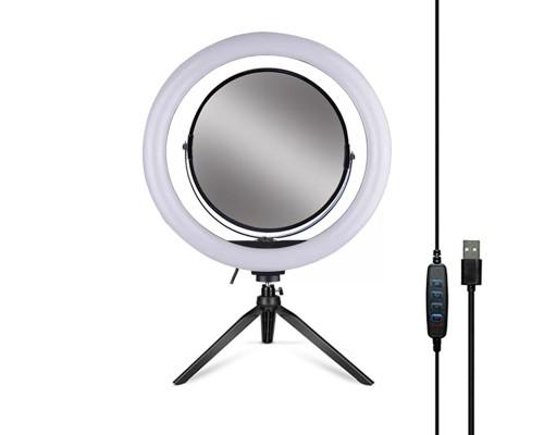 Кольцевая лампа 32 см с зеркалом и настольной треногой