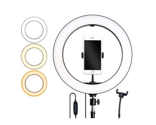 Кольцевая лампа для профессиональной съемки, селфи лампа плоская с держателем для смартфона, диаметр лампы - 36 см