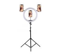 Кольцевая светодиодная лампа с тремя держателем для смартфона, со штативом, диаметр лампы - 36 см