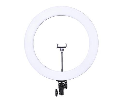 Кольцевая лампа визажиста для профессиональной съемки с держателем для смартфона и пультом, диаметр лампы 46 см мощность 65W