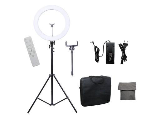 Кольцевая лампа визажиста для профессиональной съемки с держателем для смартфона, штативом и пультом, диаметр лампы 46 см мощность 65W