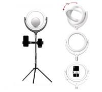 Кольцевая лампа F-539BB2 селфи лампа с двумя держателями для смартфона, со штативом и зеркалом, диаметр лампы - 26 см, черная