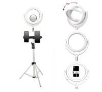 Кольцевая лампа F-539BB2 селфи лампа с двумя держателями для смартфона, со штативом и зеркалом, диаметр лампы - 26 см, белая