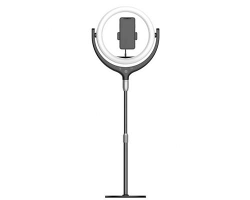Кольцевая светодиодная лампа освещения с держателем для смартфона F-539B (черный), штатив на основе, диаметр лампы - 26 см