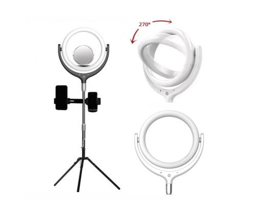 Кольцевая лампа F-539BB2J селфи лампа с держателями для смартфона, со штативом и зеркалом, диаметр лампы - 26 см, черная