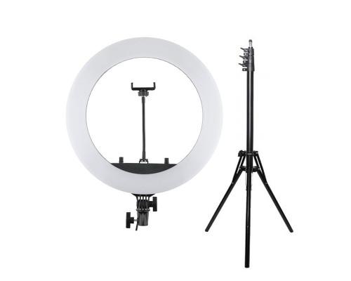 Кольцевая лампа HQ-18 селфи лампа с держателем для смартфона, диаметр 45 см (с усиленным штативом 1,8 м)