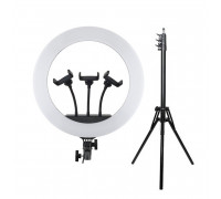 Кольцевая лампа HQ-18 селфи лампа с тремя держателями для смартфона, диаметр 45 см (с усиленным штативом 1,8 м)