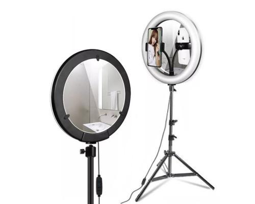 Кольцевая лампа с зеркалом, селфи лампа с держателем для смартфона, со штативом, диаметр лампы - 26 см