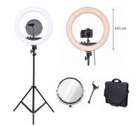 Кольцевая лампа RL-18 селфи лампа с держателем для смартфона, зеркалом и штативом, диаметр лампы - 45 см
