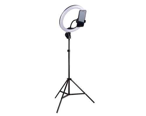 Кольцевая лампа визажиста для профессиональной съемки, селфи лампа с держателем для смартфона, со штативом, диаметр лампы - 36 см