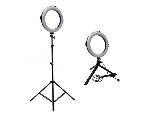 Кольцевая светодиодная лампа со штативом и треногой, диаметр лампы - 20 см