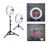 Кольцевая светодиодная селфи лампа SL-3012 с держателем для смартфона, штативом и настольной треногой, диаметр лампы - 30 см